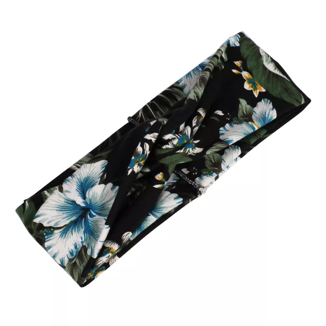 Haarband Bloemen Leaf Zwart| Katoen | Bandana