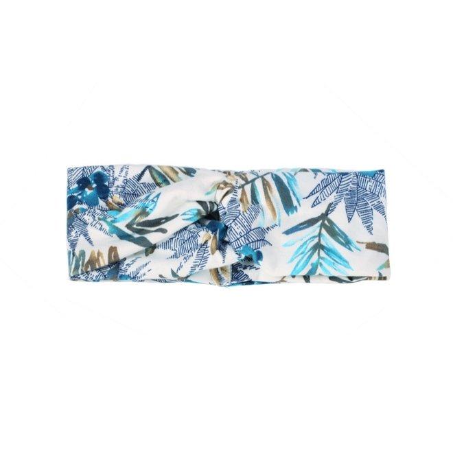 Haarband Bloemen Leaf Wit - Blauw