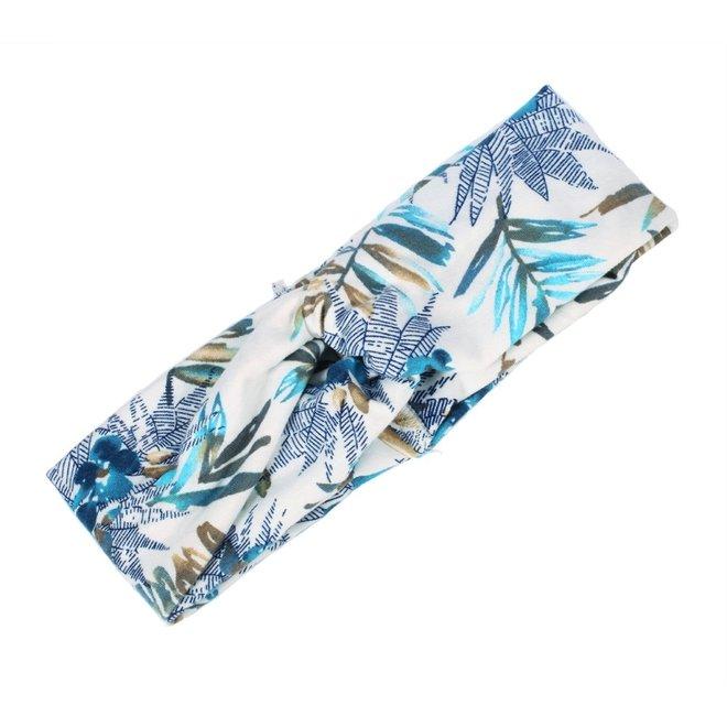 Haarband Bloemen Leaf Wit - Blauw   Katoen   Bandana