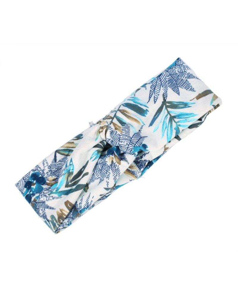 Fashion Favorite Haarband Bloemen Leaf Wit - Blauw | Katoen | Bandana