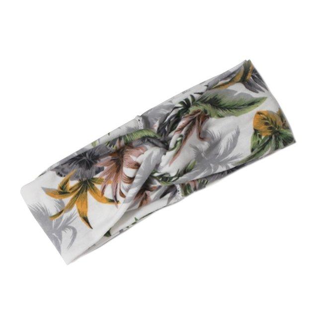 Haarband Bloemen Leaf Okergeel - Groen | Katoen | Bandana