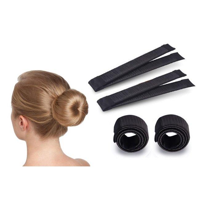 Magic Bun Maker | Set - 2 stuks + Haarelastiek | Zwart | Maak De Perfecte Knot