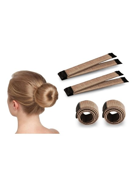 Fashion Favorite Magic Bun Maker | Set - 2 stuks + Haarelastiek | Lichtbruin
