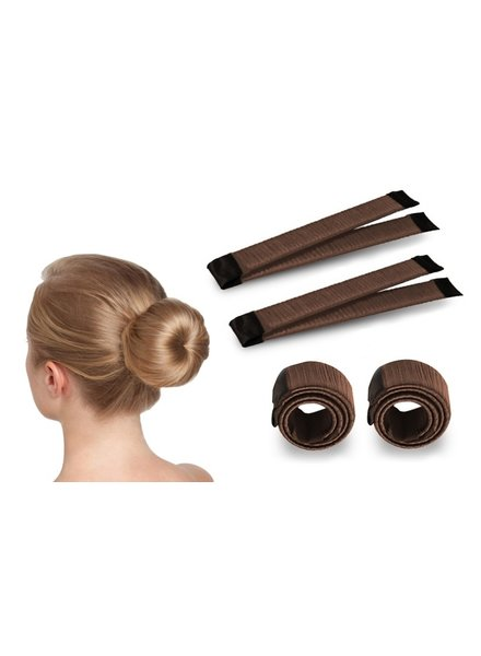 Fashion Favorite Magic Bun Maker | Set - 2 stuks + Haarelastiek | Bruin