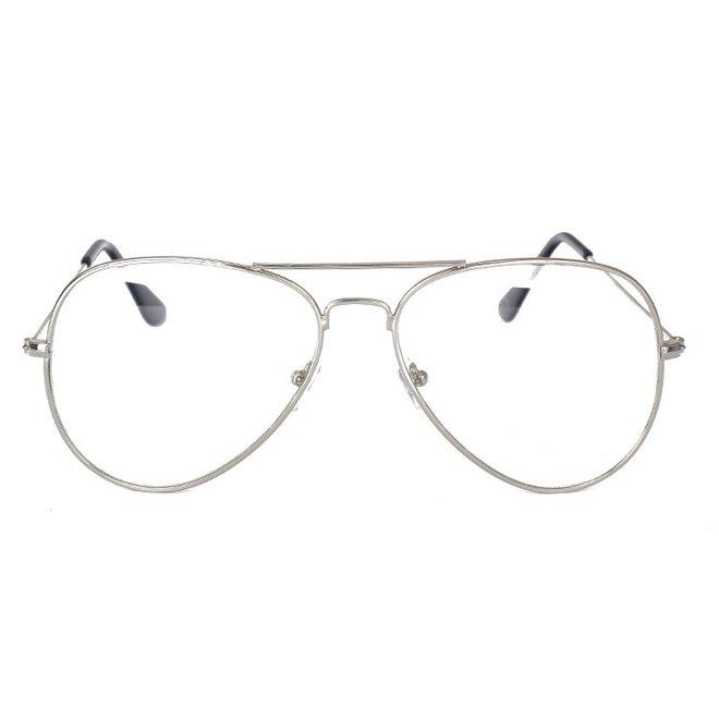 Aviator Bril Silver | Zilverkleurig | Bril zonder sterkte | 50 mm