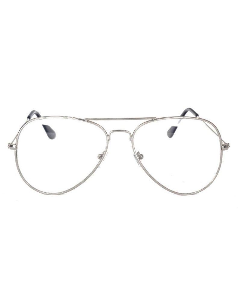 Fashion Favorite Aviator Bril Silver | Zilverkleurig | Bril zonder sterkte | 50 mm