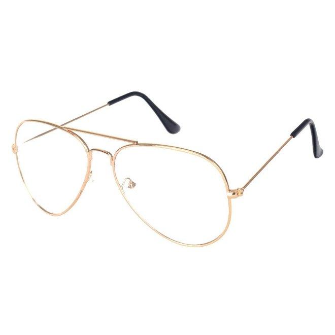 Aviator Bril Gold | Goudkleurig | Bril zonder sterkte | 50 mm