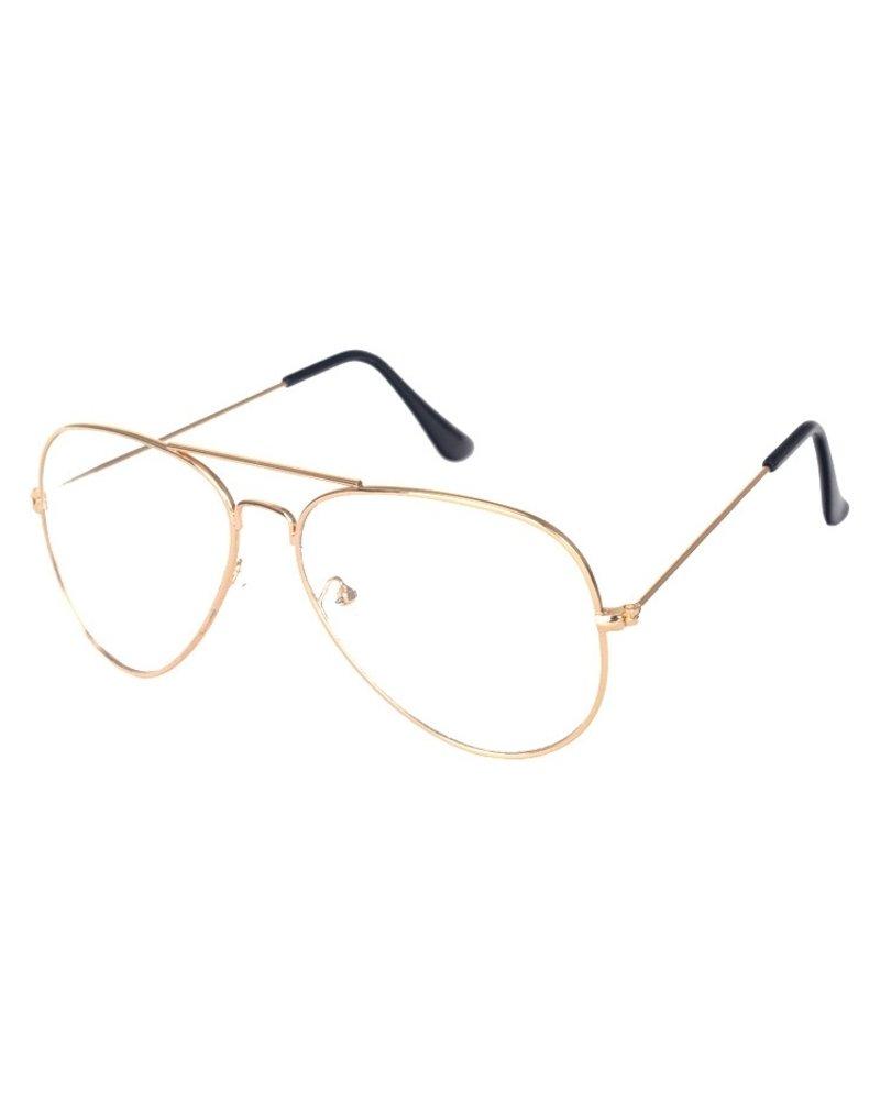Fashion Favorite Aviator Bril Gold | Goudkleurig | Bril zonder sterkte | 50 mm