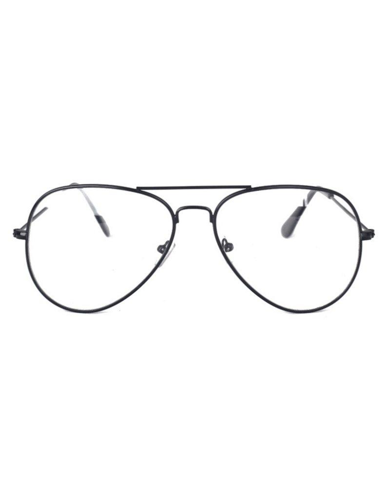 Fashion Favorite Aviator Bril Black | Zwart | Bril zonder sterkte | 50 mm