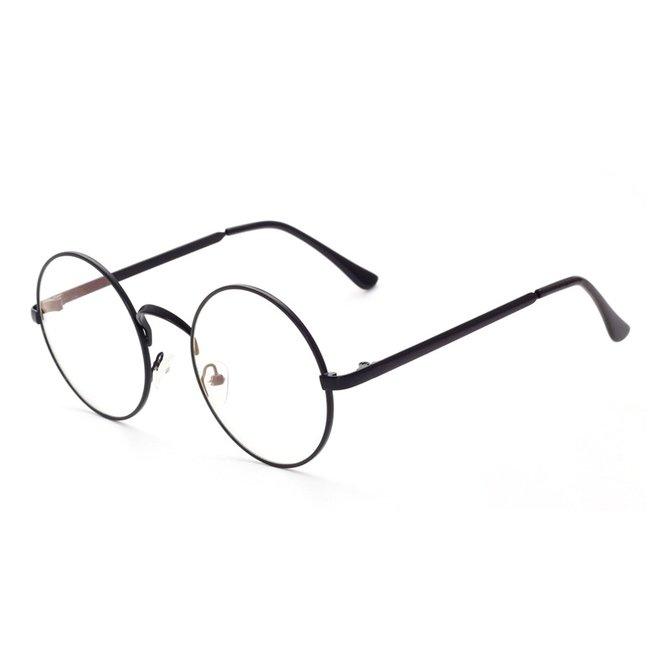 Retro Round Bril   Rond Zwart   Bril zonder sterkte   50 mm