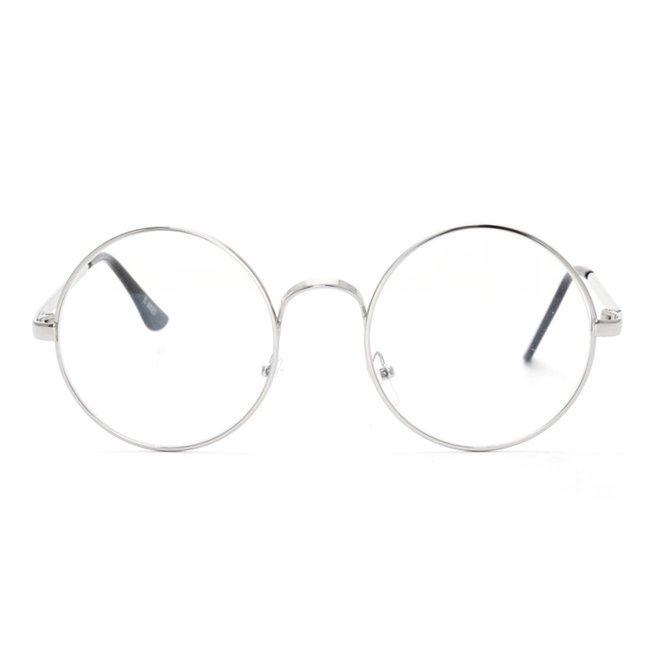 Retro Round Bril | Rond Zilver | Bril zonder sterkte | 50 mm