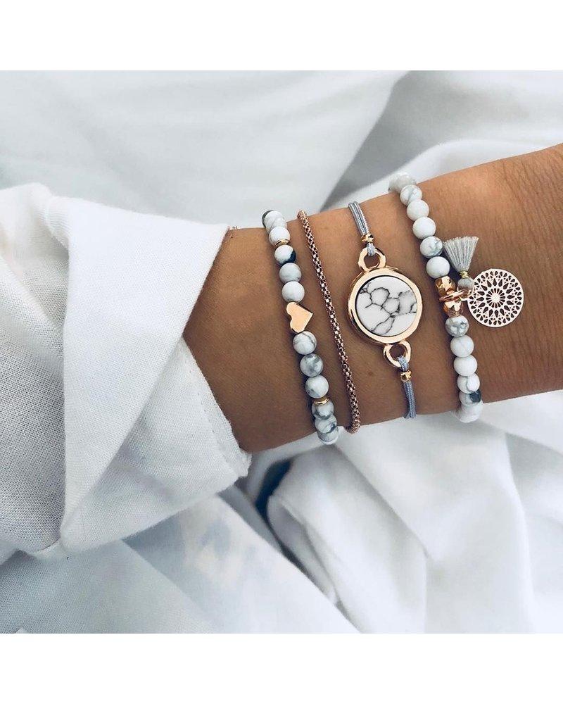 Fashion Favorite Set Armbanden Marble | 4 - delig | Goudkleurig | 18 cm