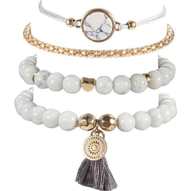 Set Armbanden Marble   4 - delig   Goudkleurig   18 cm