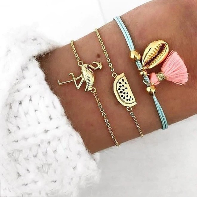 Set Armbanden Flamingo   3 - delig   Goudkleurig   18 cm