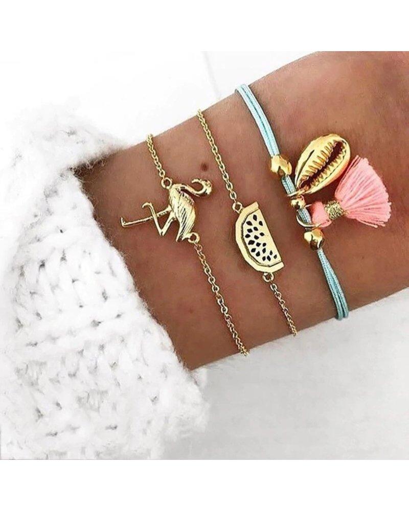 Fashion Favorite Set Armbanden Flamingo | 3 - delig | Goudkleurig | 18 cm