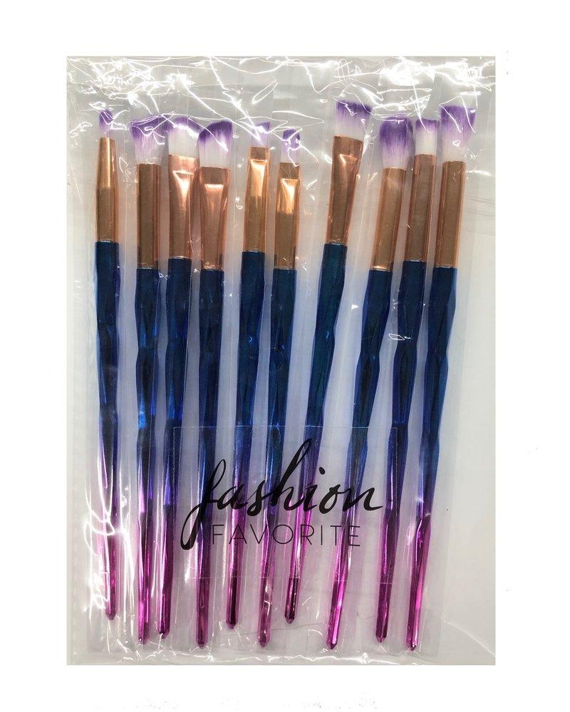 Fashion Favorite 10-delige Oog Make-up Kwasten/Brush Set | Rainbow / Regenboog