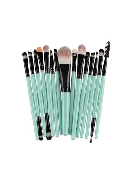 Fashion Favorite 15-delige Make-up Kwasten/Brush Set | Groen