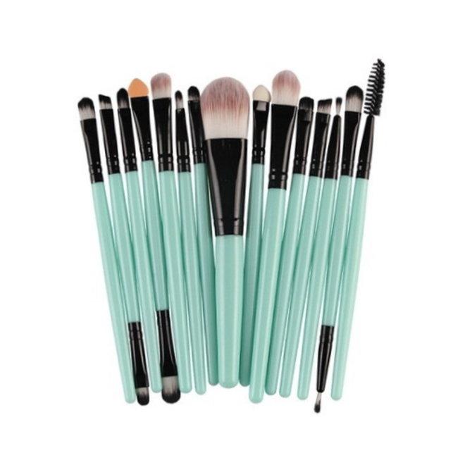 15-delige Make-up Kwasten/Brush Set | Groen