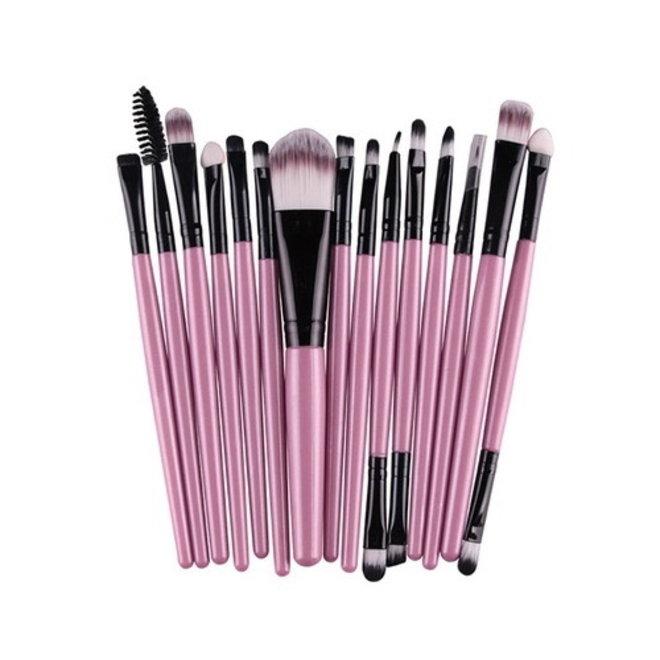 15-delige Make-up Kwasten/Brush Set   Roze