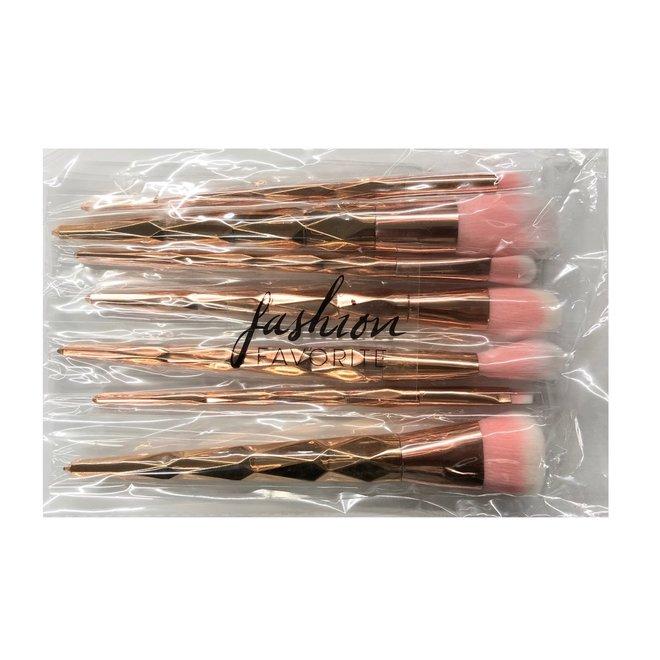 7-delige Make-up Kwasten/Brush Set | Shiny Rosegold