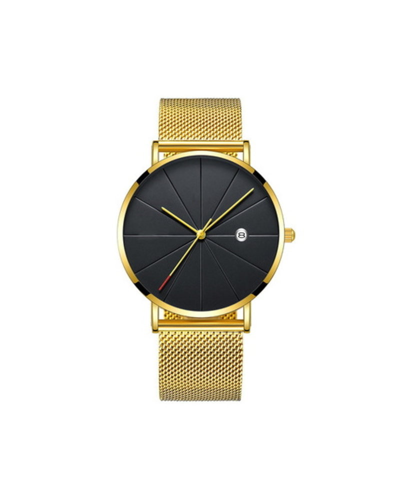 Fashion Favorite Chicago Gold Mesh Horloge | Staal | Goudkleurig / Zwart | Ø 40 mm