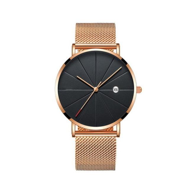 Chicago Rosé Mesh Horloge   Staal   Rosekleurig / Zwart   Ø 40 mm