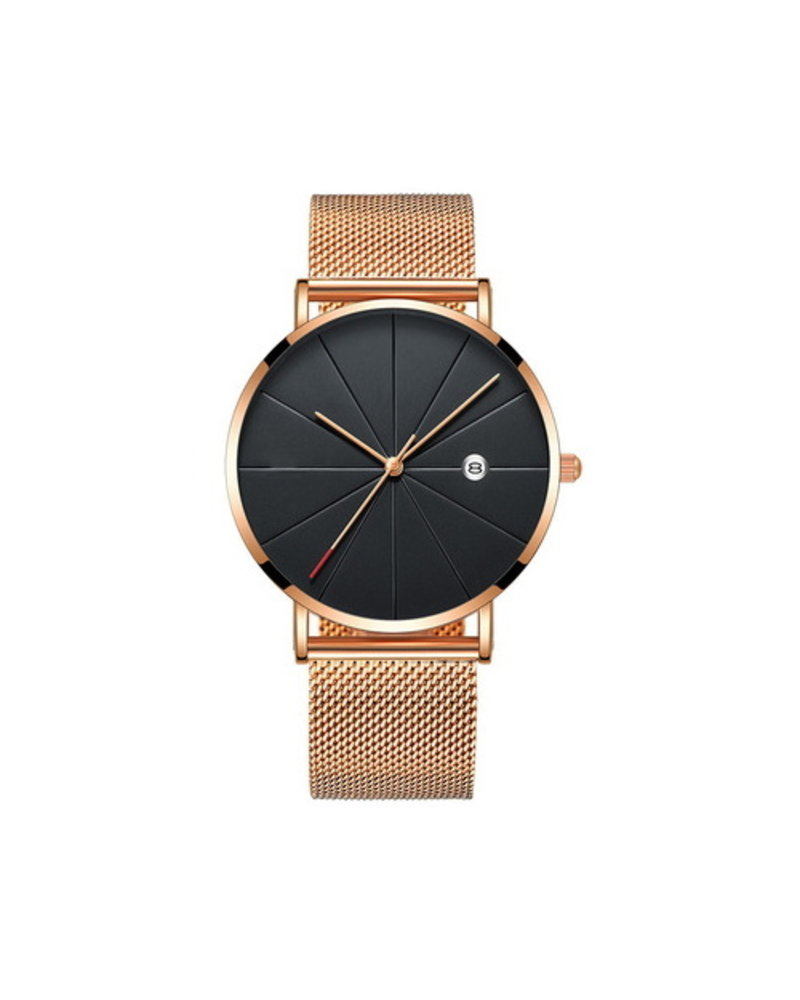 Fashion Favorite Chicago Rosé Mesh Horloge   Staal   Rosekleurig / Zwart   Ø 40 mm