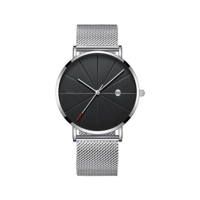 Chicago Silver Mesh Horloge | Staal | Zilverkleurig / Zwart | Ø 40 mm