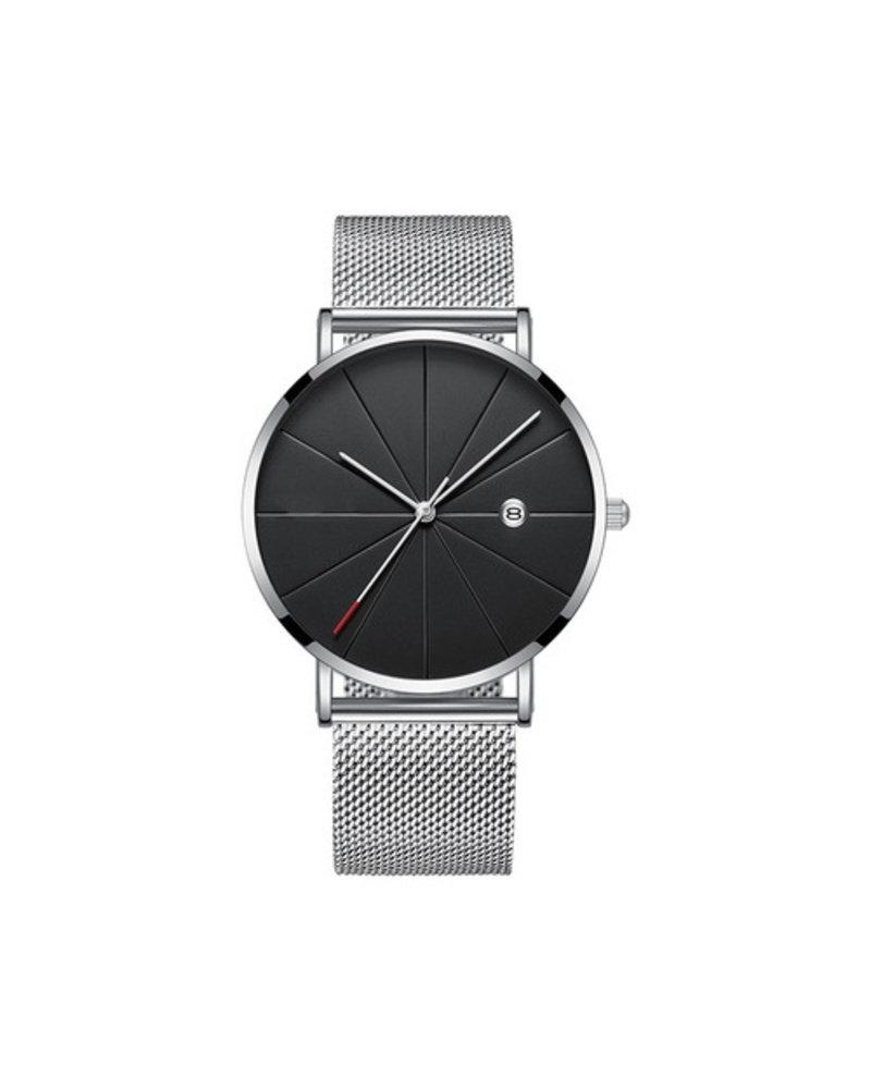 Fashion Favorite Chicago Silver Mesh Horloge | Staal | Zilverkleurig / Zwart | Ø 40 mm