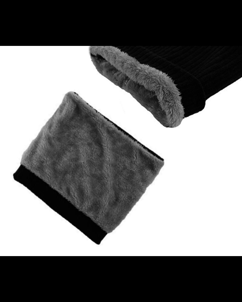 Fashion Favorite Colsjaal Rib Grijs / Blauw | Teddy Voering