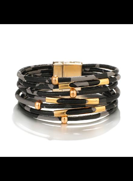 Fashion Favorite Black Leopard Armband | Zwart - Grijs Luipaard