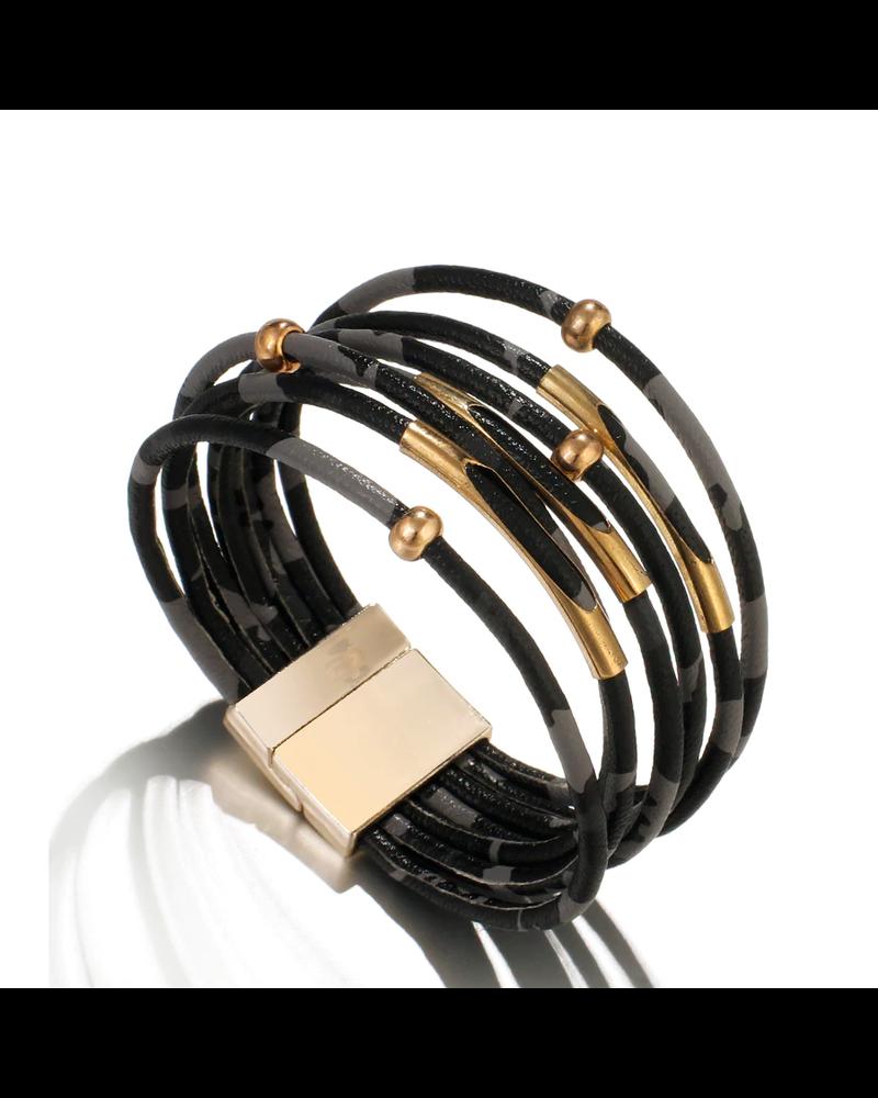 Fashion Favorite Black Leopard Armband | Zwart - Grijs Luipaard | Kunstleder | 19,5 x 1,5 cm
