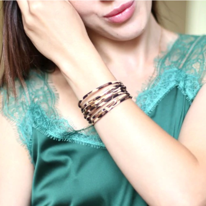 Black Leopard Armband | Zwart - Grijs Luipaard | Kunstleder | 19,5 x 1,5 cm