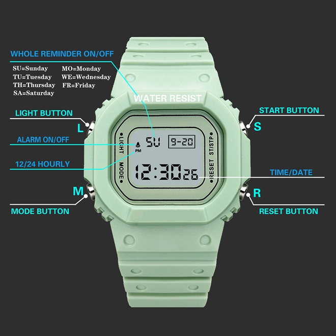 Digitaal Horloge   Mintgroen   PVC Kunststof   45 mm