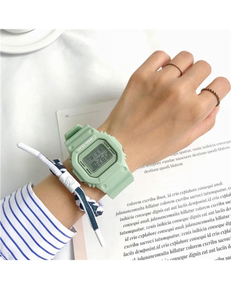 Fashion Favorite Digitaal Horloge | Mintgroen | PVC Kunststof | 45 mm
