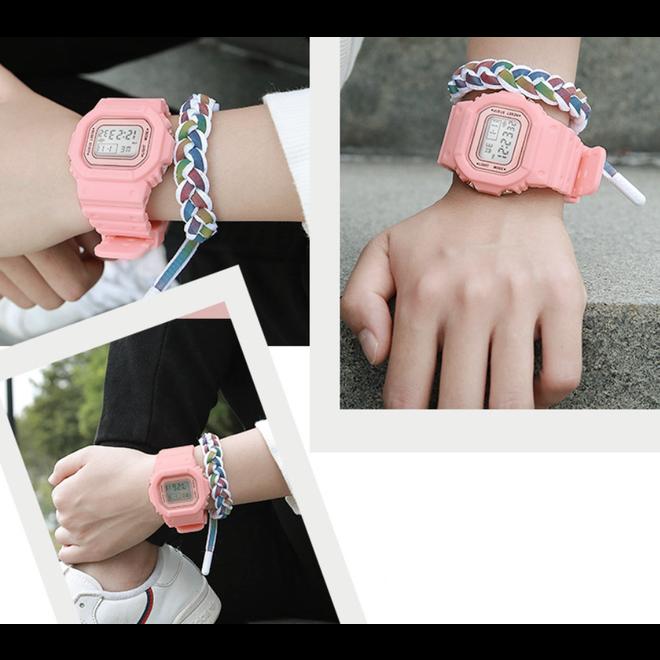 Digitaal Horloge   Roze   PVC Kunststof   45 mm