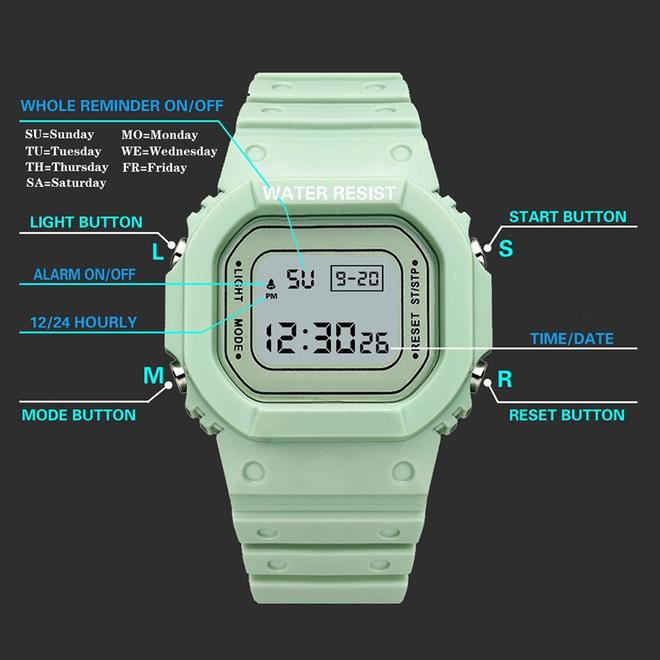 Digitaal Horloge   Wit   PVC Kunststof   45 mm