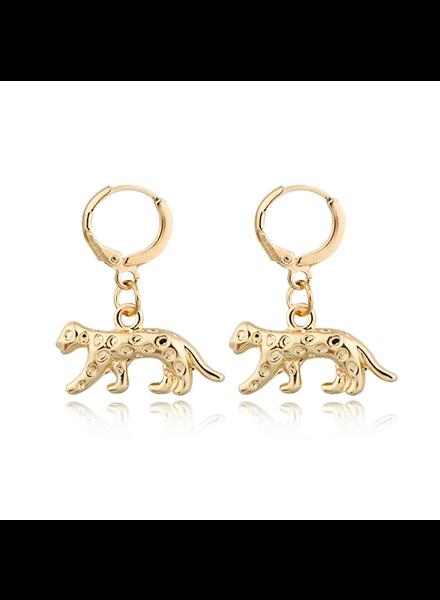 Fashion Favorite Luipaard Oorringen | Animal Charms | Goudkleurig