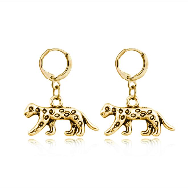 Luipaard Oorringen | Animal Charms | Goudkleurig / Zwart