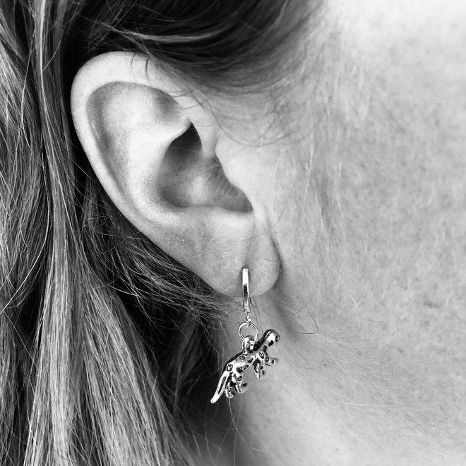 Luipaard Oorringen | Animal Charms | Zilverkleurig / Zwart