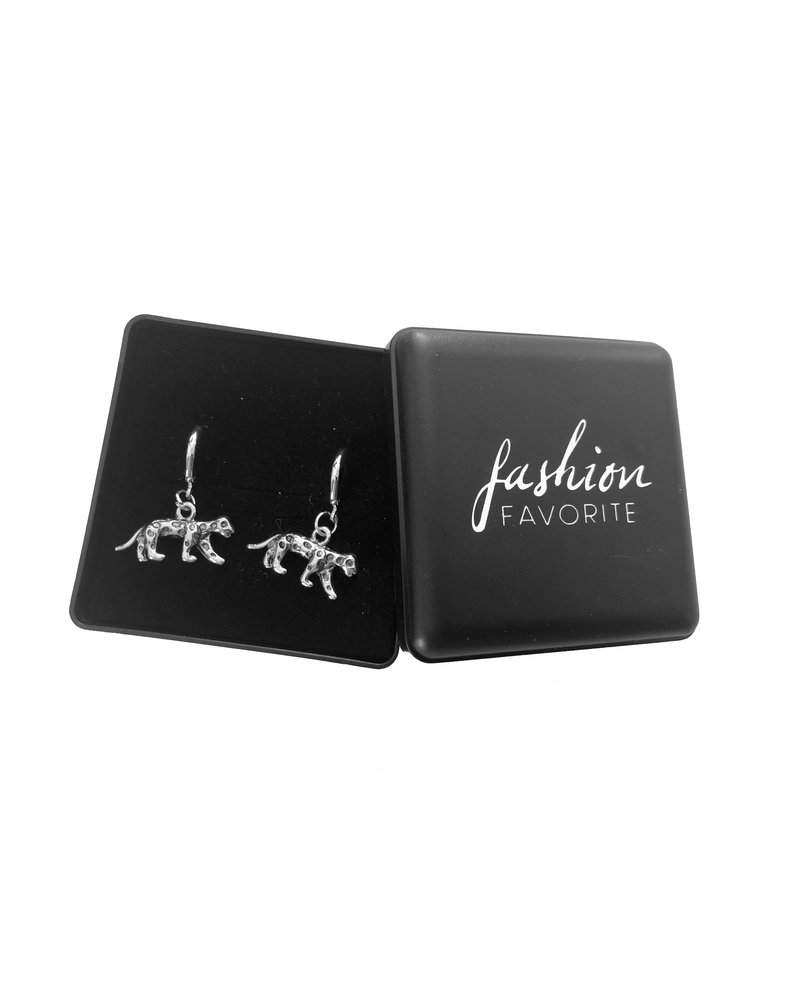 Fashion Favorite Luipaard Oorringen | Animal Charms | Zilverkleurig / Zwart