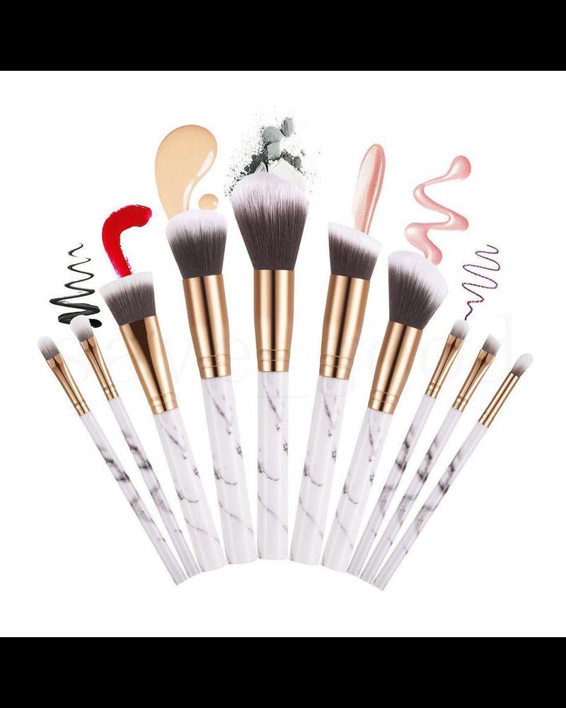Fashion Favorite Make-up Kwasten - Kwastenset - Marble / Marmer - 10 stuks