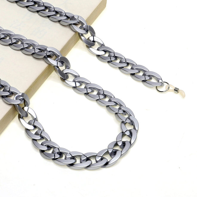 Zonnebril Ketting / Brillenkoord   Zilver   Acryl   70 cm