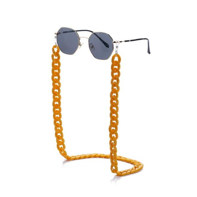 Zonnebril Ketting / Brillenkoord   Oker Geel   Acryl   70 cm