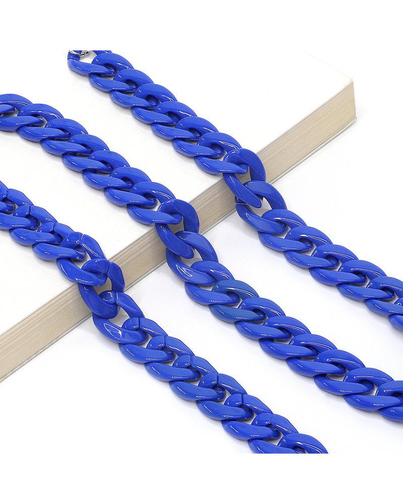 Fashion Favorite Zonnebril Ketting / Brillenkoord | Kobalt Blauw | Acryl | 70 cm