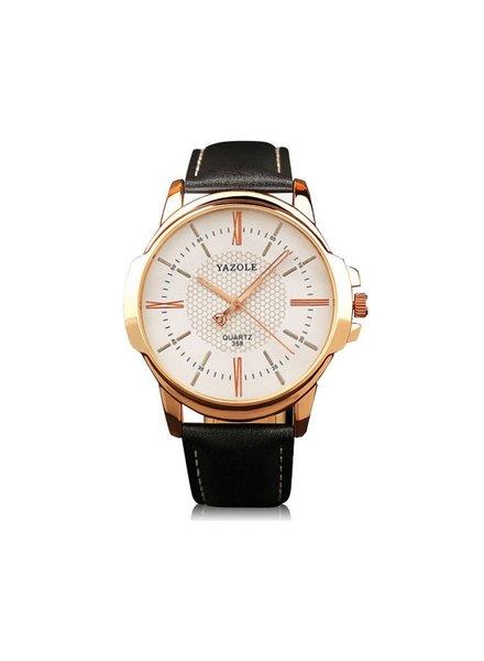 Fashion Favorite Yazole Heren Quartz Horloge | Zwart/Wit - Goud