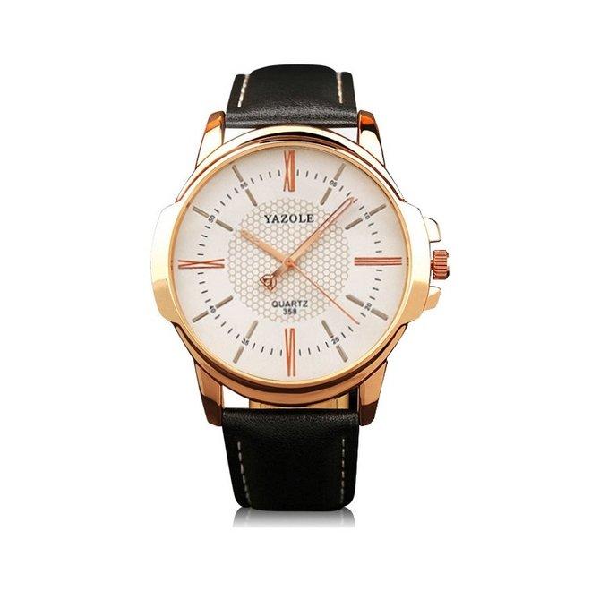 Yazole Heren Quartz Horloge | Zwart/Wit - Goud | PU Lederen Band