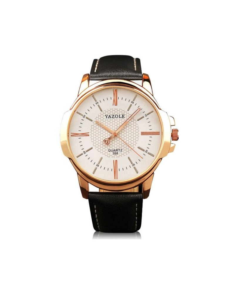 Fashion Favorite Yazole Heren Quartz Horloge | Zwart/Wit - Goud | PU Lederen Band