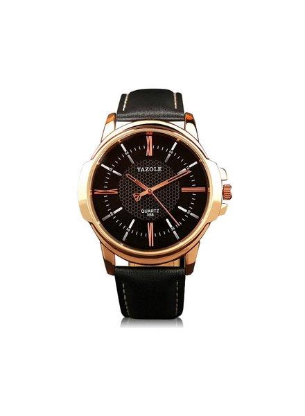 Fashion Favorite Yazole Heren Quartz Horloge | Zwart/Goud