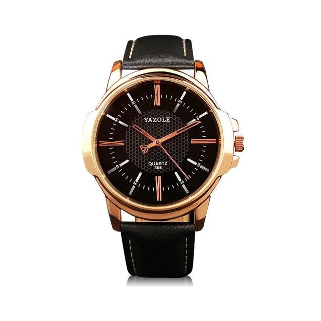 Yazole Heren Quartz Horloge | Zwart/Goud